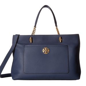 NWT Tory Burch Chelsea Leather Satchel Royal Navy
